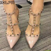 Iolpr pregos cinta sapatos de grife tornozelo clássico das mulheres sapatos de salto alto pontas do dedo do pé das mulheres sandálias de verão 2016 sapatos stiletto rebite mulheres(China (Mainland))
