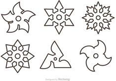 Outline Ninja Star Vectors (free)