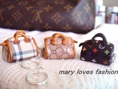 Cute charms for keychain necklace burberry LV Gucii polymer clay. $5.00, via Etsy.