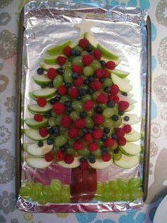 Shape breakfast fruit into a tree shape