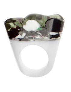 Murano Glass Ring, White Cholera