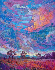 A dramatic sky breathes color and movement above the wildflower-strewn landscape of Texas hill country The impressionistic brush strokes are thickly applied and add texture and dimension to the painting Dale Chihuly, Landscape Illustration, Illustration Art, Art Nouveau, Original Paintings, Original Art, Erin Hanson, Impressionist Paintings, Oil Paintings