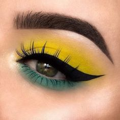 Get Free Cosmetic Samples! Those colours compliment each other so well Cute Eye Makeup, Yellow Eye Makeup, Creative Eye Makeup, Makeup Eye Looks, Eye Makeup Art, Colorful Eye Makeup, Beautiful Eye Makeup, Dramatic Makeup, Smokey Eye Makeup
