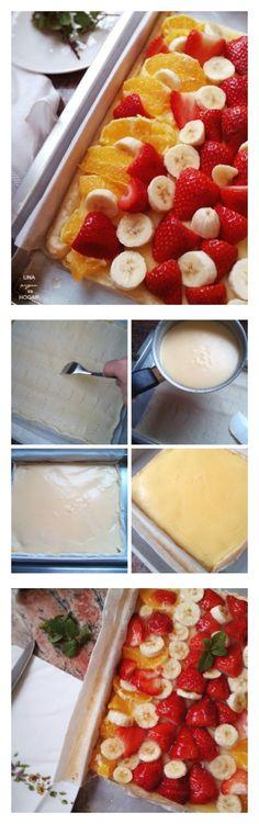 Tarta de hojaldre con frutas. Ingredientes: masa de hojaldre, fruta variada, leche, cobertura para tartas, huevo...