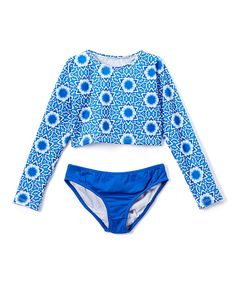 9ae249ebec4dc Azul Little Girls Blue White Namaste Long Sleeve Rash Guard Bikini Set