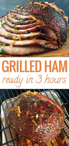 This sweet and smoky Grilled Glazed Ham will be the star of your holiday dinner table. Recipe includes instructions for a gas grill, charcoal grill or ceramic cooker. - This sweet and smoky Grilled Glazed Ham will be the star of your holiday dinner . Honey Recipes, Pork Recipes, Recipies, Barbacoa, Grilling Recipes, Cooking Recipes, Smoker Recipes, Weber Grill Recipes, Ceramic Cooker
