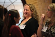 Michelle Pannell laughs with fellow bloggers