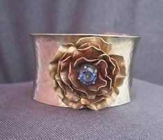 cuff bracelet metal cuff floral bracelet floral jewelry