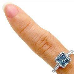1.84ct Blue Princess Cut Diamond Engagement Ring 18k White Gold / Front Jewelers Round Diamond Ring, Diamond Shapes, Diamond Cuts, Cinderella Engagement Rings, Diamond Engagement Rings, Diamond Ring Settings, Princess Cut Diamonds, Natural Diamonds, White Gold
