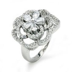 Sterling Silver Cubic Zirconia Floral Ring (Size 7)  $25.99 (+ $6.95 Shipping)