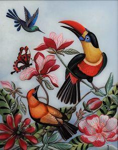 Toucan et colibri - Marie Amalia Art Carte, Rooster, Creations, Bird, Fall, Garage Bar, Flowers, Painting, Animals