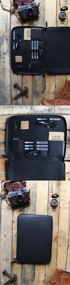 """Black apple air macbook case. Fits 13"""" laptop plus iPad and all of your edc essentials"""