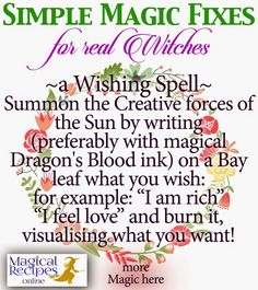 simple magic fix wishing spell with bay laurel Magic Herbs, Herbal Magic, Easy Magic, Simple Magic, Magick Spells, Witchcraft Herbs, Luck Spells, Money Spells, Pagan Witch