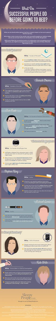 What Do Successful People Do Before Going To Bed? There is lots of info out there that claims successful people go to bed early and get up very early. It is refreshing to see information about successful people with more nocturnal instincts. Self Development, Personal Development, Professional Development, Life Skills, Life Lessons, Night Time Routine, Successful People, Things To Know, Geek Things