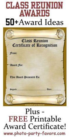 Free printable class reunion award certificate with more than 50 free printable class reunion award certificate with more than 50 ideas for high school reunion awards yelopaper Gallery