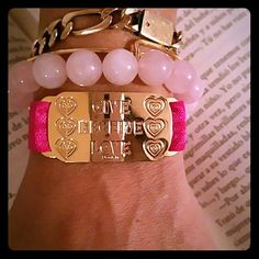 Give, received love bracelet Double 18k gold plated, organza elastic ribbon,  fucsia color, amazing quality. Jewelry Bracelets