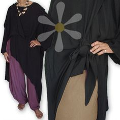 Distinctive style and comfort meet in this peerless tunic! The shape is pure magic with its long pointed hemline originally desig Meditation Clothing, Moroccan, Hemline, Cover Up, Bohemian, Tunic, Pure Products, Sewing, How To Wear