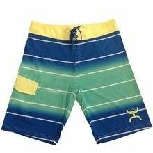 Hooey® Men's Stripe Boardshorts- Blue, Green Yellow