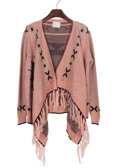 Pink Black Tribal Geometrical Pattern Fringe Hem Cardigan - pair this with tights, skinny jeans or cute skirt.