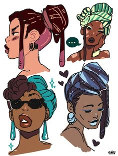 "asieybarbie: ""feeling kinda sad right now so doodled some random pretties in headwraps to cheer me up a bit. """
