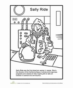 First Grade People History Worksheets: Sally Ride Coloring Page