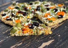 Vegan Richa: Millet Chickpea Kale Quiche Pizza topped with Okra, golden cherry tomatoes, bell peppers. glutenfree vegan recipe