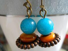 Earrings of Gemstones n BrassSpring Bling by JoJosgems on Etsy, $15.00