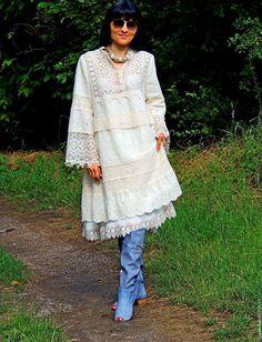 Купить Платье в стиле БОХО. Лен и хлопок (№325)По мотивам - платье бохо, стиль бохо