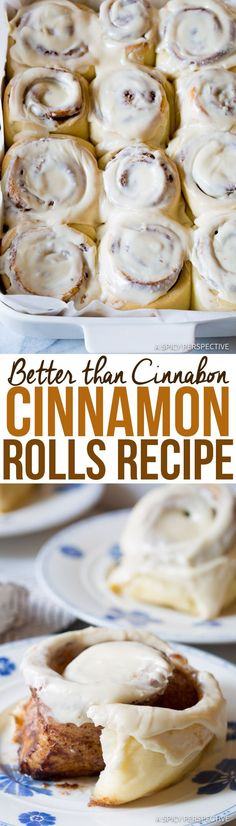 "Amazing ""Better than Cinnabon"" Cinnamon Rolls Recipe- great for breakfast, brunch or dessert. Just Desserts, Delicious Desserts, Dessert Recipes, Yummy Food, Think Food, Love Food, Cinnabon Cinnamon Rolls, Cinnabon Recipe, Cinnamon Roll Icing"