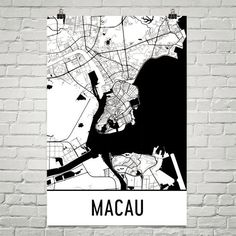 Macau Map, Art, Print, Poster, Wall Art From $29.99 - ModernMapArt