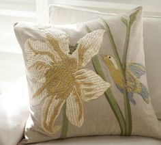 Bird & Flower Embroidered Pillow Cover