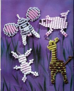 Beadie Babies Suzanne McNeill Design by grammysyarngarden on Etsy Pony Bead Patterns, Perler Patterns, Craft Patterns, Beading Patterns, Pony Bead Projects, Pony Bead Crafts, Craft Projects, Baby Crafts, Diy And Crafts