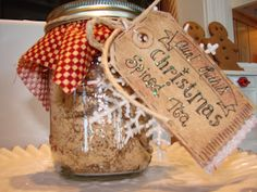 delicious Hot Orange Spice Tea recipe and gift idea ~  Mix and pour into canning jars, add a fabric square, a tag, and maybe a little ornament...  The serving instructions on the tag should read: Stir 2 heaping teaspoons into a mug of steaming hot water. Enjoy with a good book in front of a warm fire!