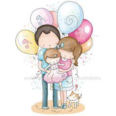 Children Illustration - Nursery Illustration, Family, Love , New Born, Birthday, Mum and Baby Puppy