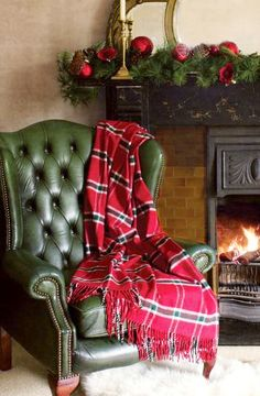 Red Plaid Lambswool Throw ~ Ireland