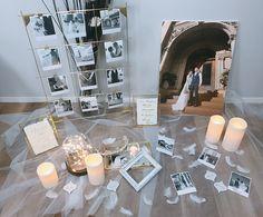 Wedding Clip, Diy Wedding, Wedding Reception, Wedding Photos, Wedding Photo Table, Welcome Boards, How To Memorize Things, Wedding Decorations, Table Settings