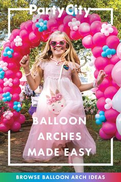 Get balloon arch inspiration from Party City! Get balloon arch inspiration from Party City! Unicorn Themed Birthday Party, Birthday Party For Teens, Barbie Birthday, Rainbow Birthday, Birthday Party Decorations, Balloon Decorations, 4th Birthday, Birthday Ideas, Party City Balloon Arch
