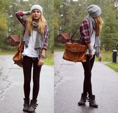 White tee, red flannel shirt, black skinnies, combat boots, gray hat & scarf.