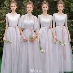 Affordable Grey See-through Bridesmaid Dresses 2019 A-Line / Princess Scoop Neck… Affordable Grey See-through Bridesmaid Dresses 2019 A-Line / Princess Scoop Neck Sash Appliques Lace Floor-Length / Long Ruffle Backless Wedding Party Dresses Lace Party Dresses, New Wedding Dresses, Vintage Dresses, Vintage Lace, Casual Bridesmaid, Blush Pink Bridesmaid Dresses, Bridesmaid Ideas, Lace Bridesmaids, Trendy Dresses