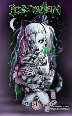 Dark fairy tales zombie tattoos, pin up tattoos, body art tattoos, owl tattoos Dark Alice In Wonderland, Alice In Wonderland Drawings, Zombie Kunst, Zombie Art, Disney Kunst, Disney Art, Punk Disney, Cartoon Kunst, Cartoon Art