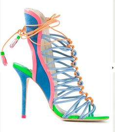 Mixed color lace up sandals