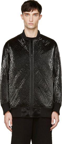 KTZ - Black Nylon Maze Stitch Bomber Jacket
