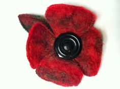 Posh poppy from felted mohair and vintage button