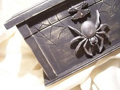 Black wood Gothic Spider Chest with mirror