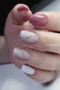 35 Simple Ideas for Wedding Nails Design - How to use nail polish? Nail polish on your friend's nails l Simple Acrylic Nails, Acrylic Nail Designs, Simple Nails, White Gel Nails, Nail Pink, Green Nail, White Nail Art, Black Nail, Pink Glitter