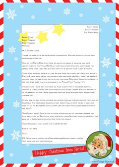 """Letter From Santa Template Word   Free """"Letter from Santa"""" template for you to download and edit ..."""