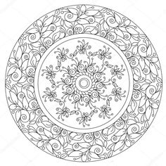 Stock vector of 'Vector outline black beautiful floral mandala for coloring. Lotus Painting, Mandalas Painting, Mandalas Drawing, Mandala Art, Islamic Art Pattern, Mandala Pattern, Zentangle Patterns, Stained Glass Flowers, Stained Glass Patterns