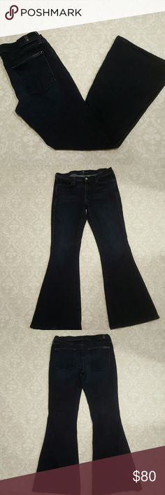 """7 For All Mankind Flare Jeans 7 For All Mankind """"andie"""" Flare Jeans, in perfect condition. No wear on the cuffs. Very stretchy & comfortable, 65% cotton, 33% lyocell, 2% spandex. 31"""" inseam, 9"""" rise in the front. No trades. Bundle and save! 7 For All Mankind Jeans Flare & Wide Leg"""