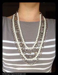 Taylor necklace and bracelet clasped together for longer look. -2013 Premier Designs holiday collection
