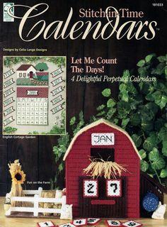Plastic Canvas Stitch-in-Time 4 Perpetual Calendars Pattern Book Farm Kittens